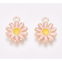 15mm Daisy Enamel Charm, Pink on Gold Tone