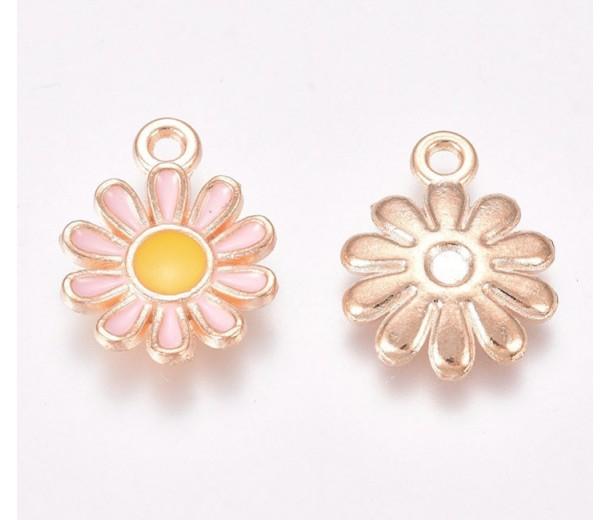 15mm Daisy Enamel Charm, Pink on Gold Tone