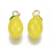 13mm Small 3D Lemon Enamel Charm, Yellow on Gold Tone Metal