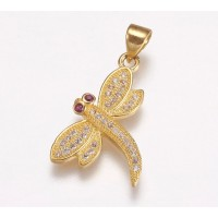 21mm Dragonfly Cubic Zirconia Charm, Gold Tone