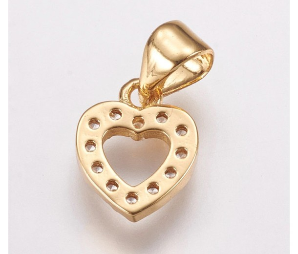 10mm Heart Rhinestone Pave Small Charm with Bail, Gold Tone, 1 Piece