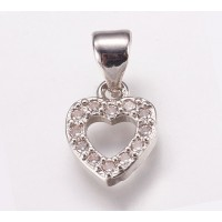 10mm Heart Rhinestone Pave Small Charm with Bail, Rhodium, 1 Piece