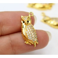 21mm Owl Cubic Zirconia Charm, Gold Tone