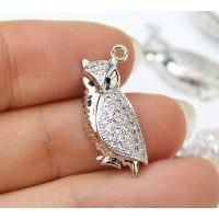 21mm Owl Cubic Zirconia Charm, Rhodium Plated