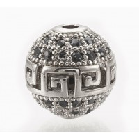 Micro Pave Bead with Greek Key Pattern, Black on Rhodium, 10mm Round