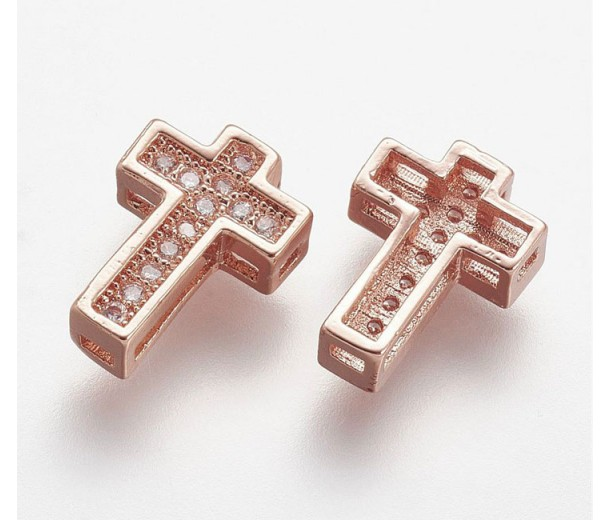 10mm Cross Rhinestone Pave Slider Bead, Rose Gold Tone