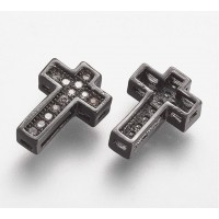 10mm Cross Rhinestone Pave Slider Bead, Gunmetal Finish