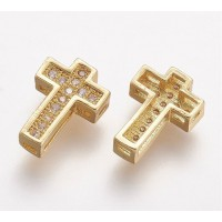 10mm Cross Rhinestone Pave Slider Bead, Gold Tone