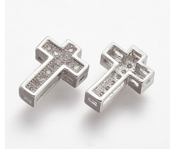 10mm Cross Rhinestone Pave Slider Bead, Rhodium Plated