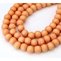 Dyed Wood Beads, Light Orange, 8mm Round