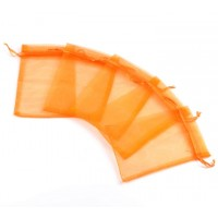 Organza Pouch, Orange Sheer, 5.5x4 inch