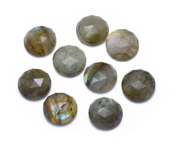 Labradorite Faceted Cabochons, 10mm Round, Pack of 2