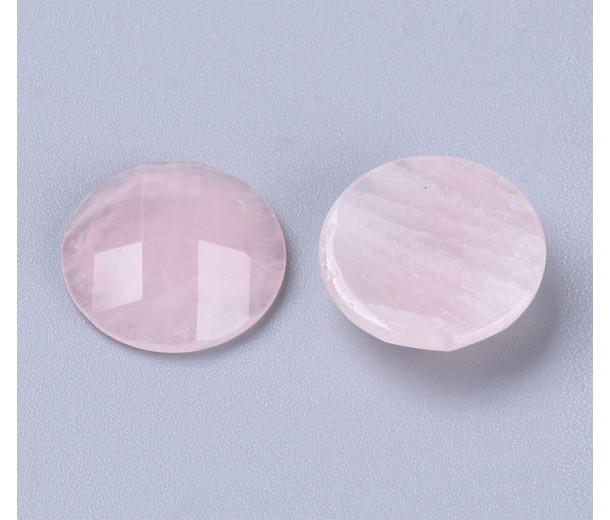 Rose Quartz Faceted Cabochons, 15mm Round, Pack of 2