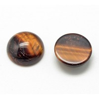 Tiger Eye Cabochons, 12mm Round, Pack of 2