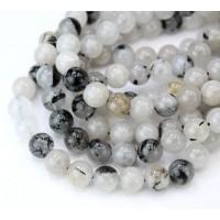 Milky Grey Rutilated Quartz Beads, Natural, 8mm Round