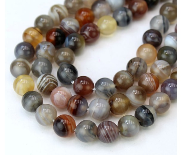 Botswana Agate Beads, Natural, 8mm Round