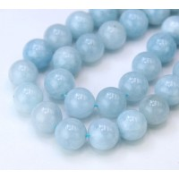 Aquamarine Beads, Natural, 10mm Round