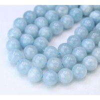 Aquamarine Beads, Natural, 8mm Round