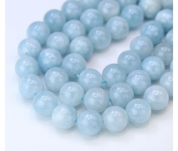 Aquamarine Beads, Natural, 6mm Round