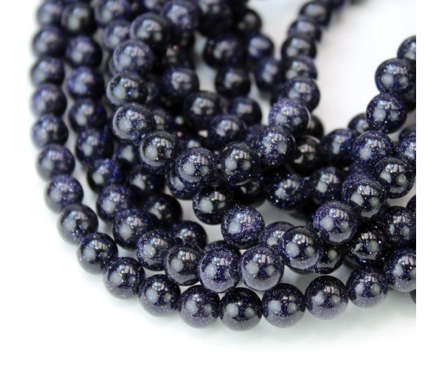 Goldstone Beads, Blue, 6mm Round