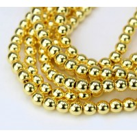 Hematite Beads, Metallic Yellow Gold, 6mm Round