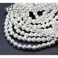 Hematite Beads, Metallic Silver, 6mm Round