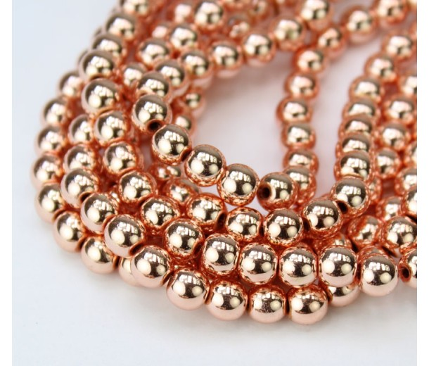 Hematite Beads, Metallic Rose Gold, 6mm Round