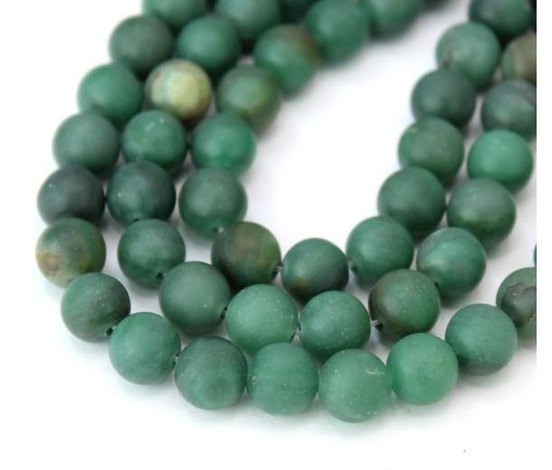 Matte African Jade Beads, Natural Dark Green, 8mm Round
