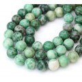 African Jade Beads, Natural Green, 10mm Round, 15 inch strand