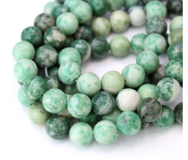 African Jade Beads, Natural Green, 10mm Round