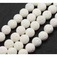 Lava Rock Beads, White, 8mm Round