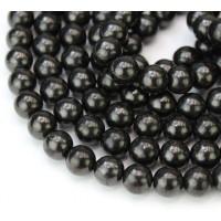 Shungite Beads, Natural, 6mm Round
