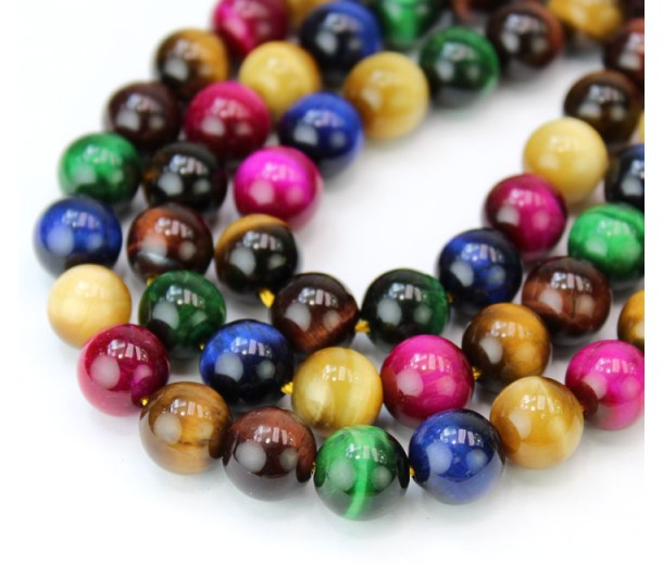 Tiger Eye Beads, Multicolor, 10mm Round