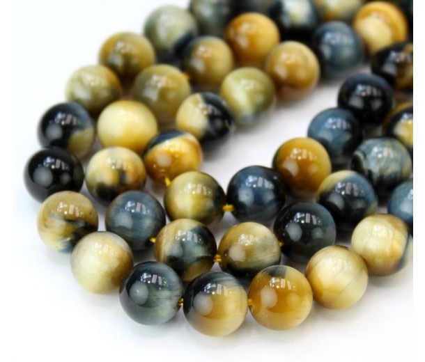 Tiger Eye Beads, Navy Blue and Goldenrod Mix, 8mm Round