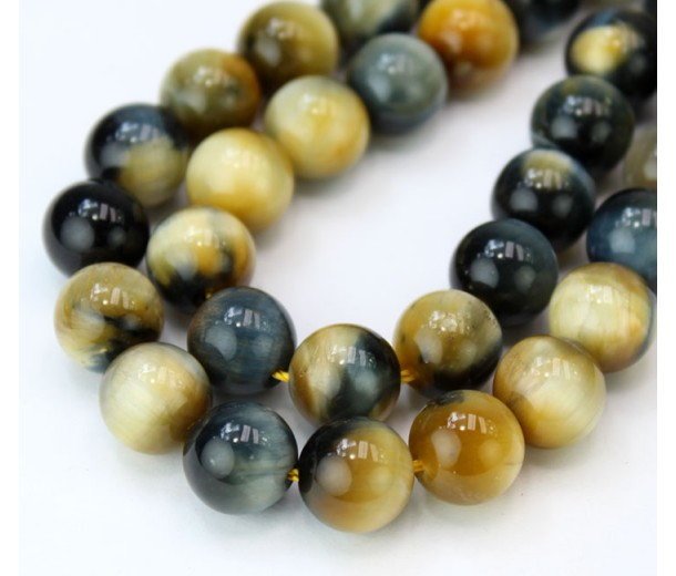 Tiger Eye Beads, Navy Blue and Goldenrod Mix, 10mm Round