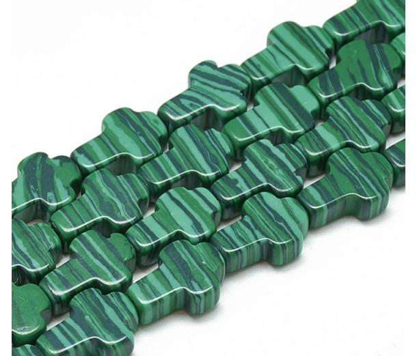 Imitation Malachite Beads, Green, 12x8mm Flat Cross