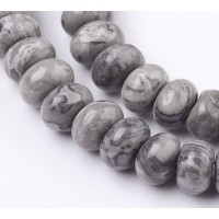 Scenery Jasper Beads, Natural, 5x8mm Smooth Rondelle
