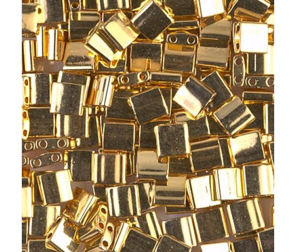 5x5mm Miyuki Tila Beads, 24K Gold Plated, 7.2 Gram Tube