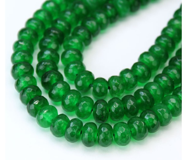Grass Green Candy Jade Beads, 8x5mm Faceted Rondelle