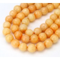 Peach Candy Jade Beads, 8mm Faceted Round