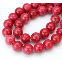 Crimson Red Mountain Jade Beads, 10mm Round