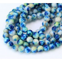 Dark Blue and Light Green Multicolor Jade Beads, 6mm Round