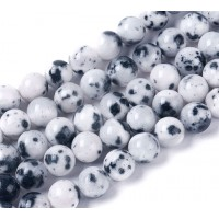 White and Black Multicolor Jade Beads, 10mm Round