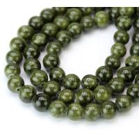 Dark Olive Green Mountain Jade Beads, 8mm Round