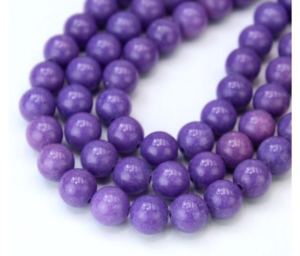 Medium Purple Mountain Jade Beads, 8mm Round