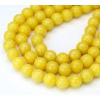 -Banana Yellow Mountain Jade Beads, 8mm Round