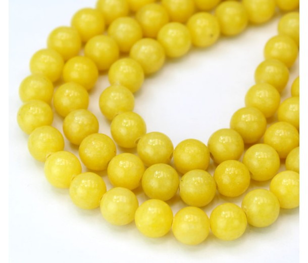 Banana Yellow Mountain Jade Beads, 8mm Round