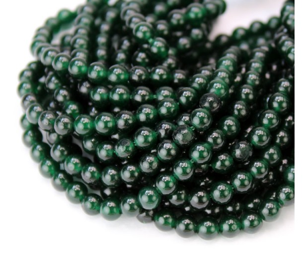 Dark Christmas Green Semi-Transparent Jade Beads, 4mm Round