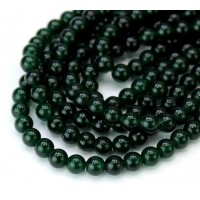 Dark Christmas Green Semi-Transparent Jade Beads, 4mm Round