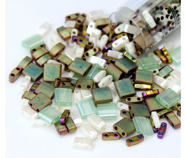 5mm Miyuki Tila Bead Shape Mix, Mixed Nuts, 7.2 Gram Tube